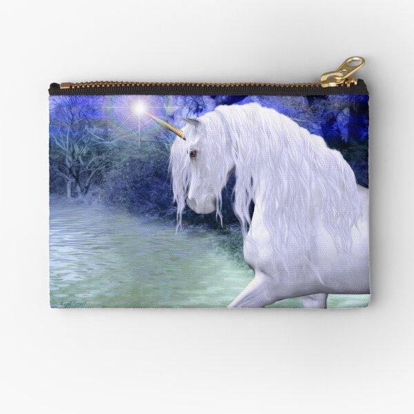 Star .. a white unicorn Zipper Pouch
