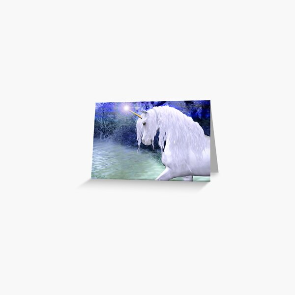 Star .. a white unicorn Greeting Card