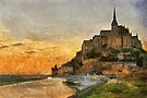 Mont Saint Michel at Dusk, France by David Carton