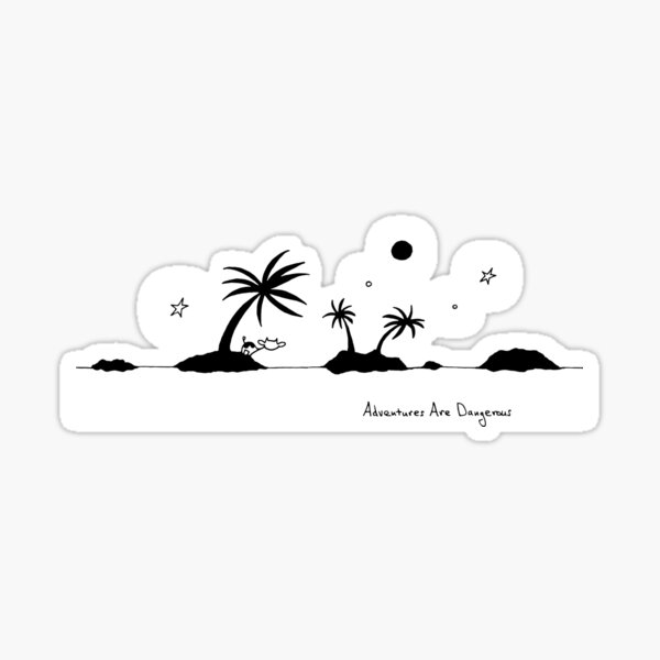 Island Cows with Palm Trees on Islands Sticker
