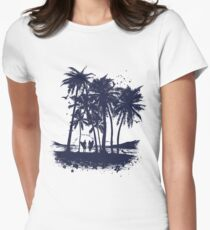 Palm Sunset - Hand drawn Womens Fitted T-Shirt