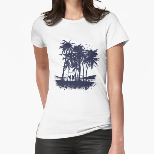 Minimal Beach Drawing with Waves Sun and Palm Tree Womens T-Shirt
