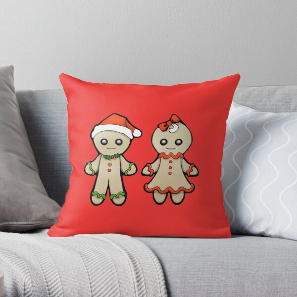 Gingerbread man and woman Throw Pillow