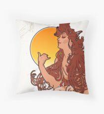 Alphonse Mucha Art Nouveau Vintage Design Throw Pillow