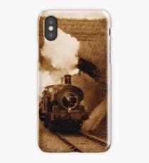 Steam train going under bridge, Shepton Mallet, Somerset, UK iPhone Case/Skin