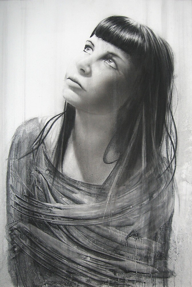 Charcoal study of one of my students   'Bonnie' by Warren Haney