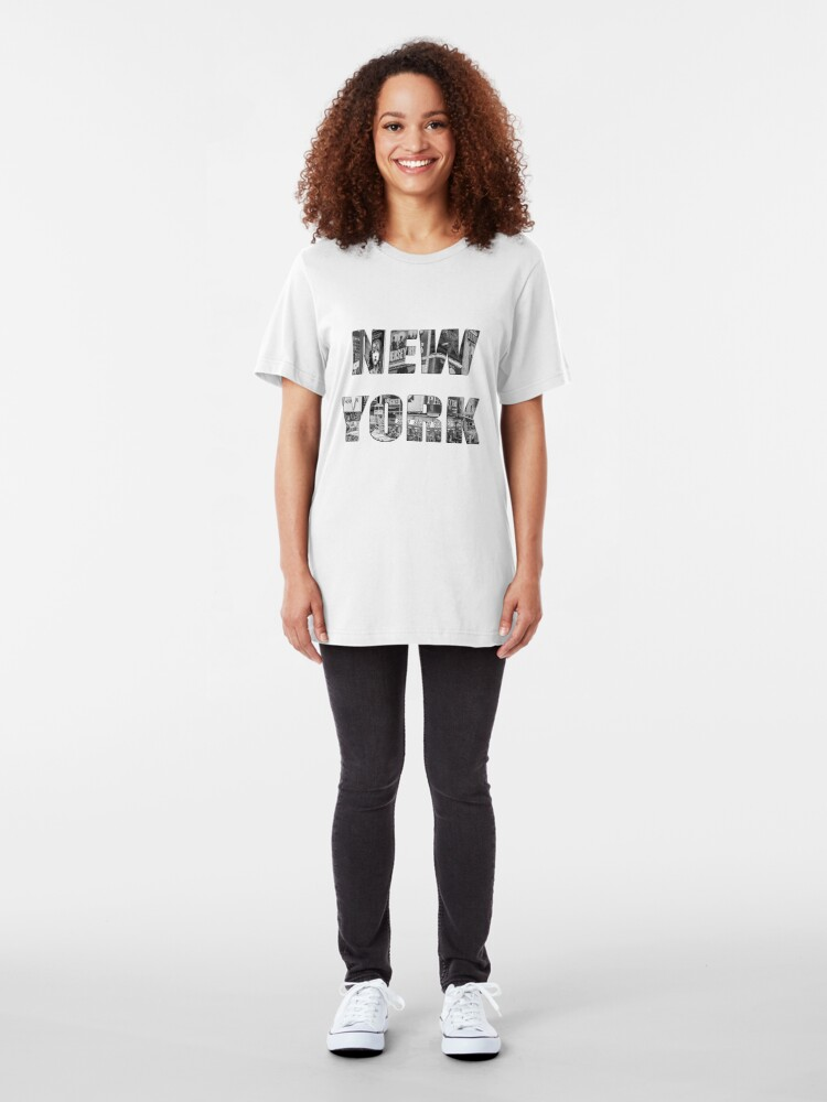 Alternate view of New York (b&w photo filled flat type on white) Slim Fit T-Shirt