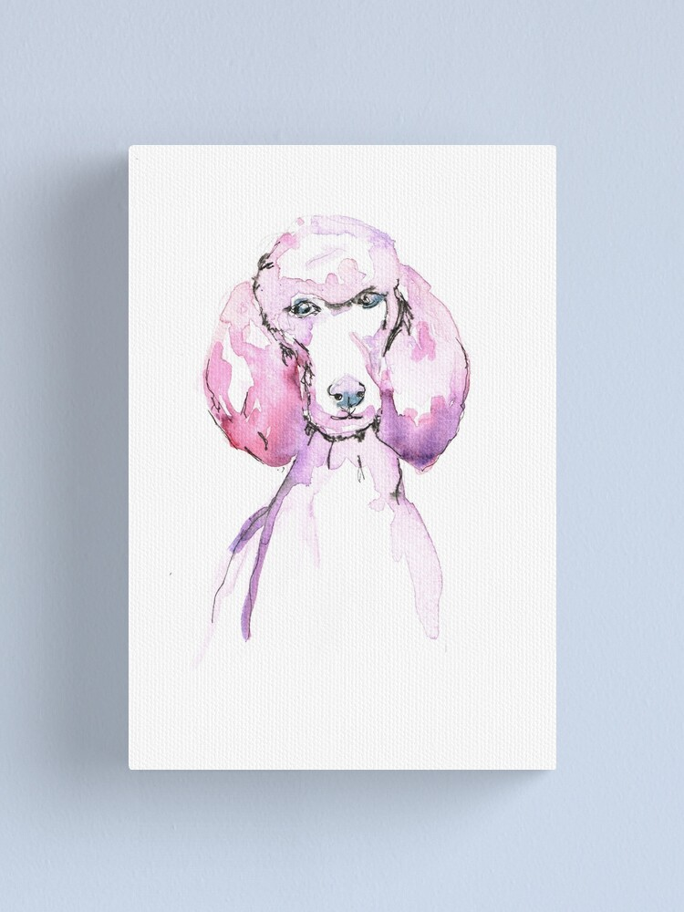 Poodle Painting In Watercolour Pink Poodle Canvas Print By Annaturnbull69 Redbubble