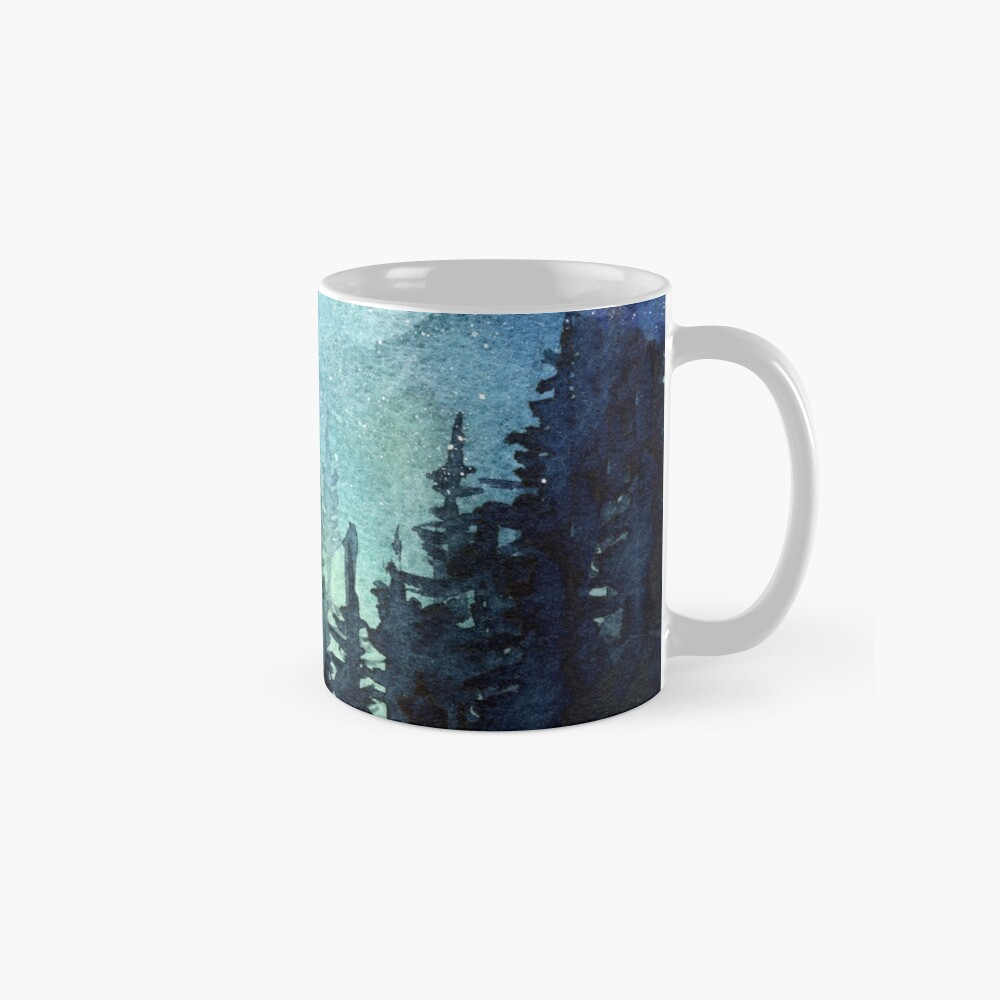 Watercolor Galaxy Nebula Aurora Northern Lights Painting Mug