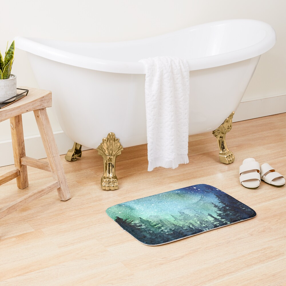 Watercolor Galaxy Nebula Aurora Northern Lights Painting Bath Mat