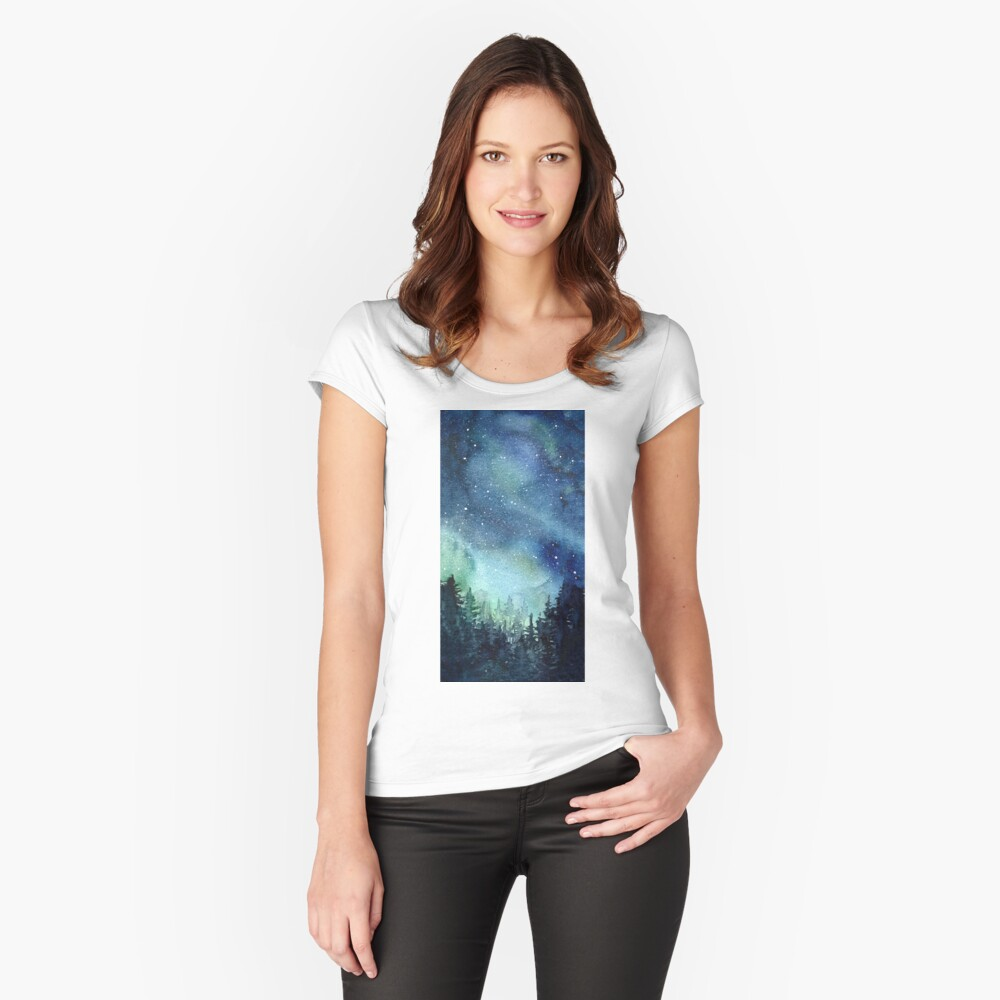 Watercolor Galaxy Nebula Aurora Northern Lights Painting Fitted Scoop T-Shirt