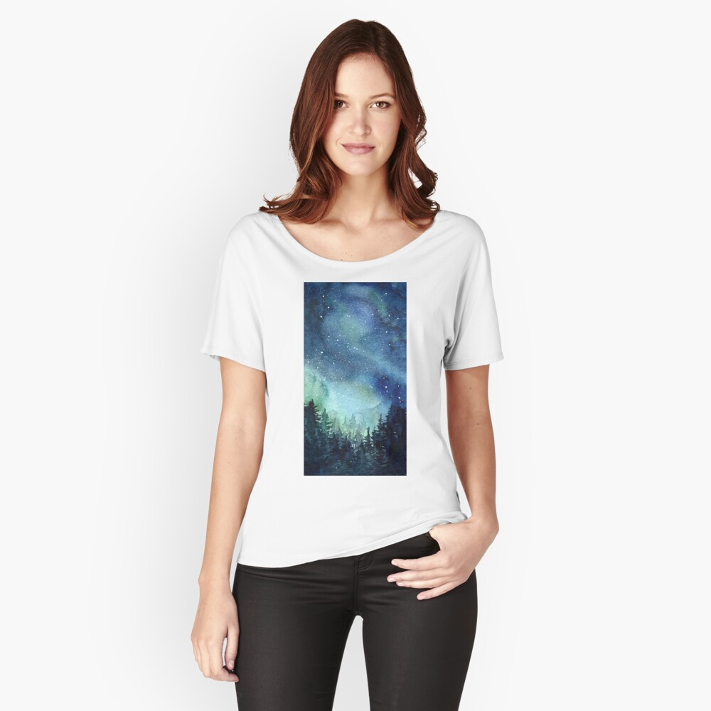 Watercolor Galaxy Nebula Aurora Northern Lights Painting Relaxed Fit T-Shirt