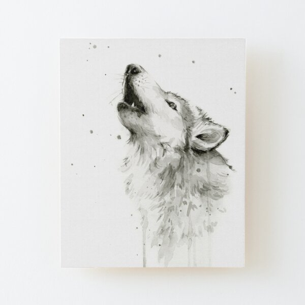 Wolf Howling Watercolor Wood Mounted Print