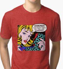 Roy Lichtenstein Comic Art - Girl with Gloves Tri-blend T-Shirt
