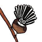 Cute Fantail - clock ft. Te Reo Maori numbers by Adrienne Body
