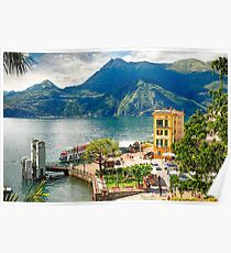 Varenna Harbor on Lake Como, Lombardy, Italy Poster