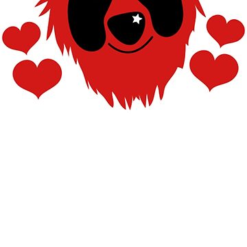 funny red grover like monster with love hearts by goplak79