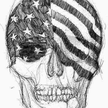 USA Skull Sketch by coltrane