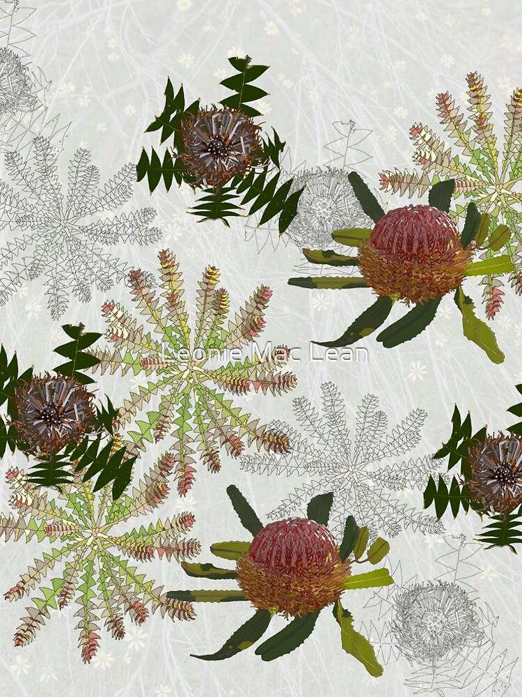 Mixed Banksia Digital Drawing, native flora, West Australian wildflowers. by yallmia