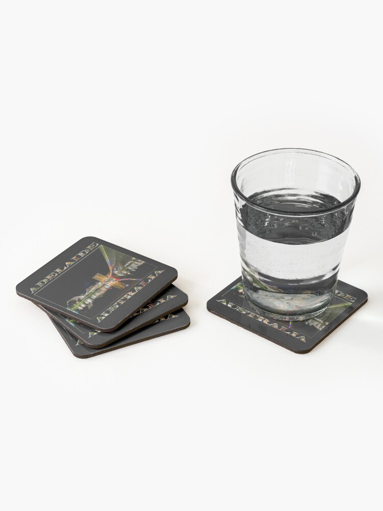 Alternate view of Adelaide Riverbank at Night (poster on black) Coasters (Set of 4)