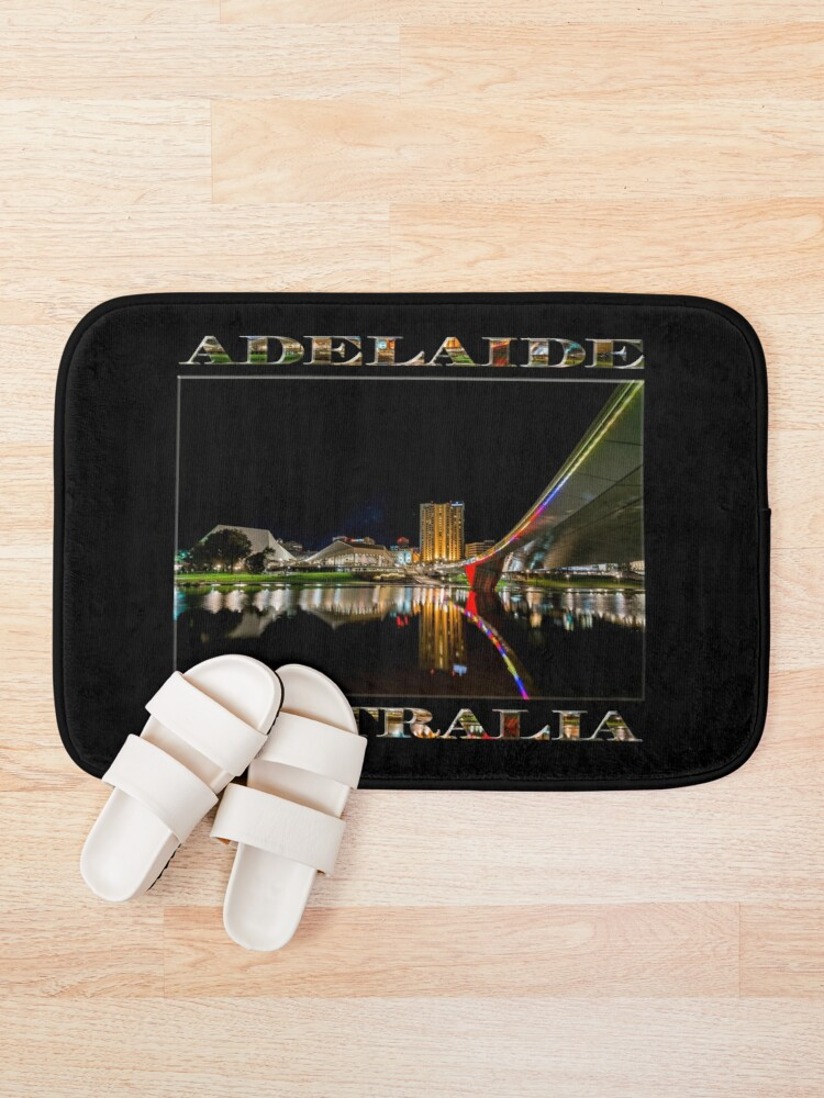 Alternate view of Adelaide Riverbank at Night (poster on black) Bath Mat
