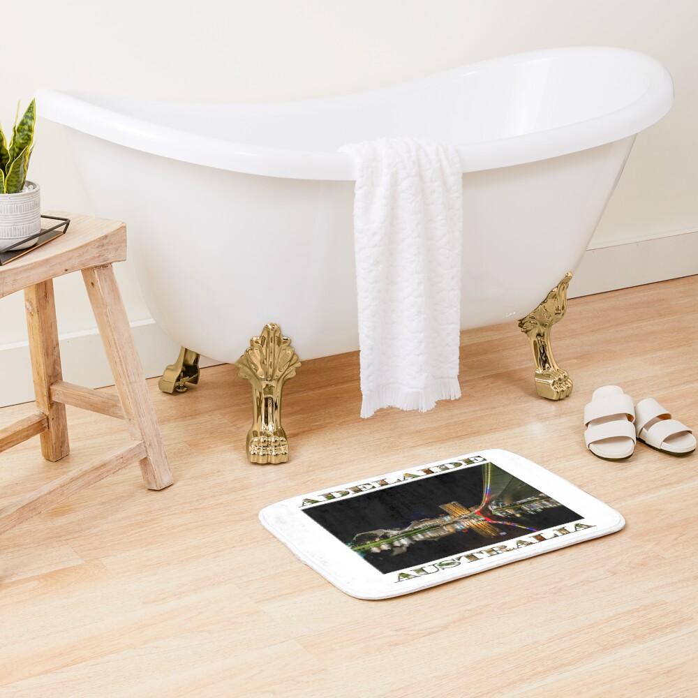 Adelaide Riverbank at Night (poster on white) Bath Mat
