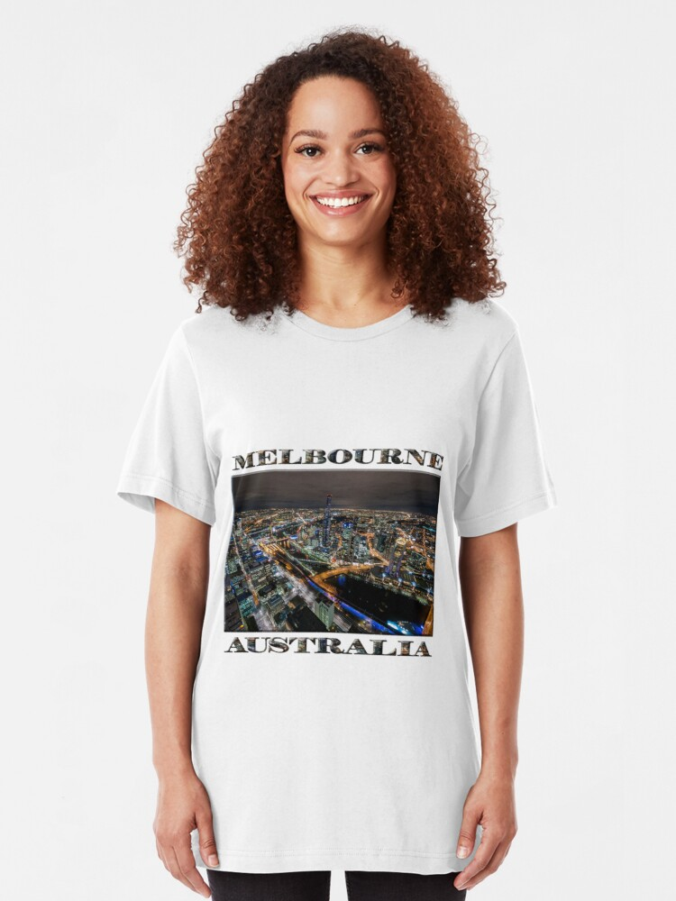Alternate view of City Lights (poster on white) Slim Fit T-Shirt