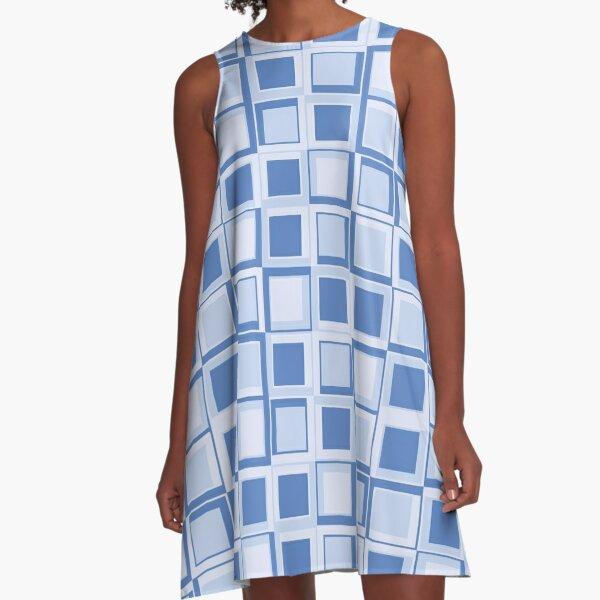 Blaues 70er Jahre Styling Quadrate A-Linien Kleid