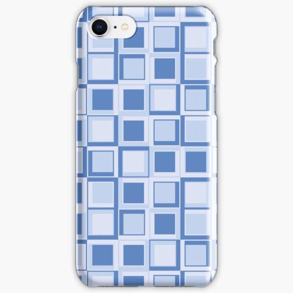 Blaues 70er Jahre Styling Quadrate iPhone Leichte Hülle