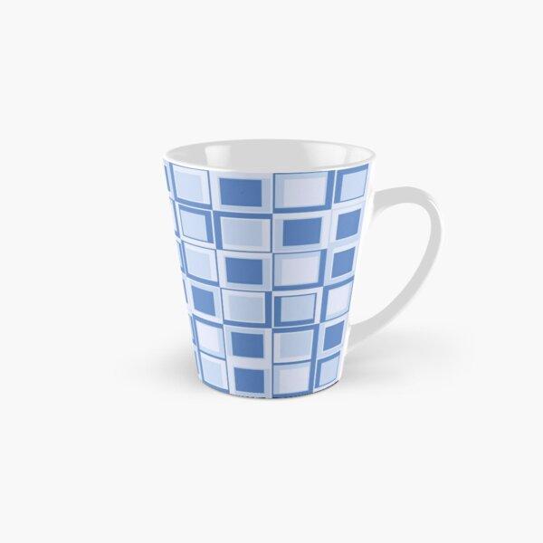 Blaues 70er Jahre Styling Quadrate Tasse (konisch)
