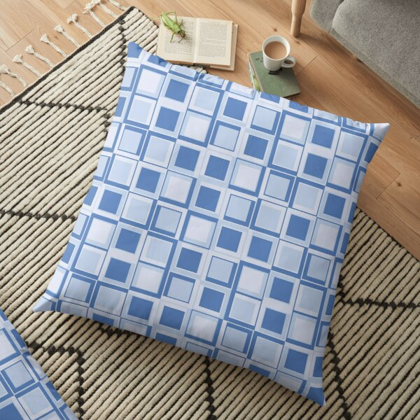 Blue 70's year styling squares Floor Pillow