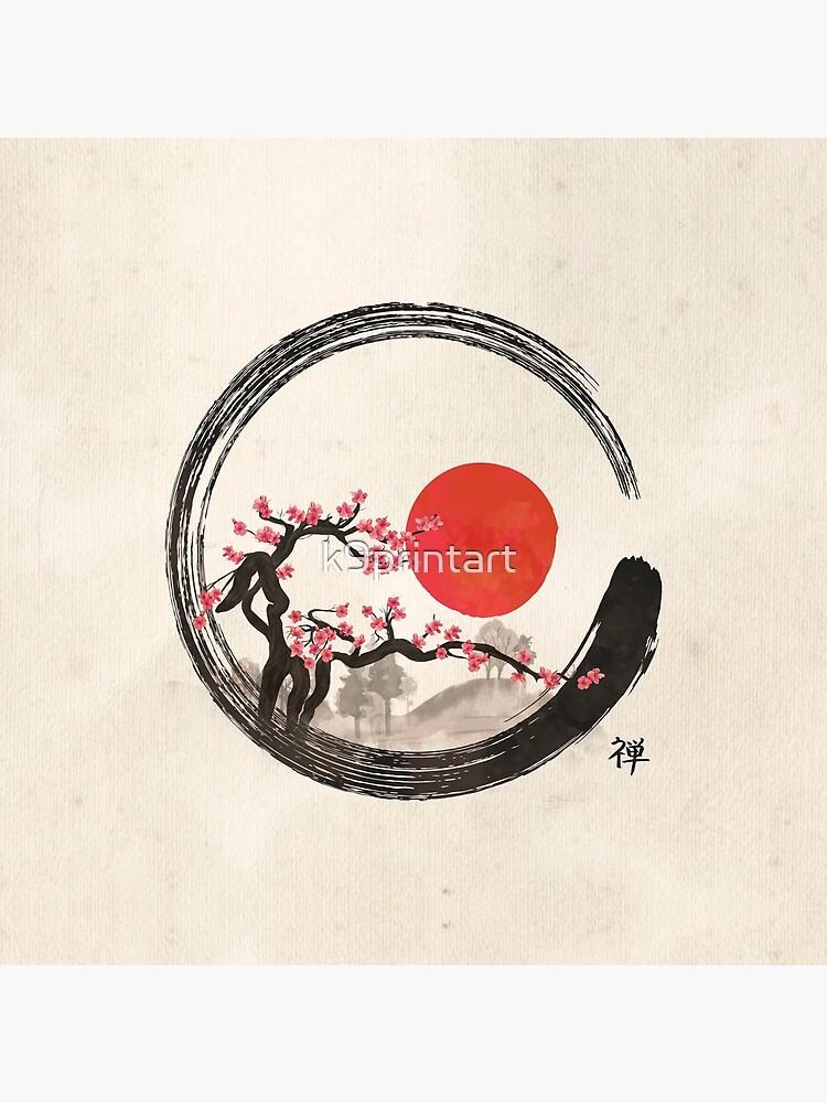 Zen Enso Circle and Sakura Tree  by k9printart