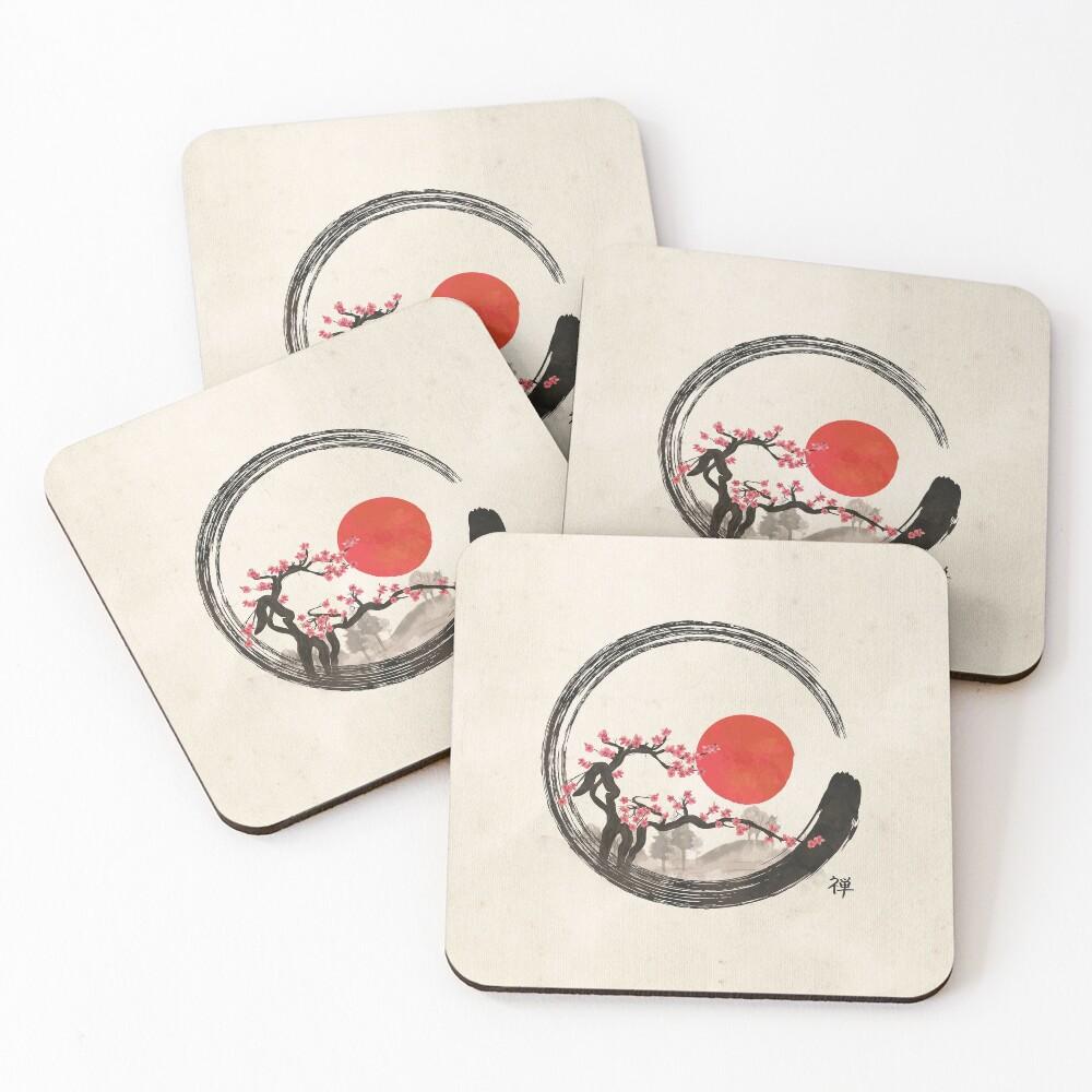 Zen Enso Circle and Sakura Tree  Coasters (Set of 4)