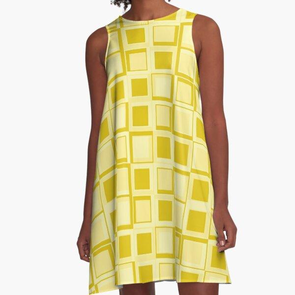 Gelbes 70er Jahre Styling Quadrate A-Linien Kleid