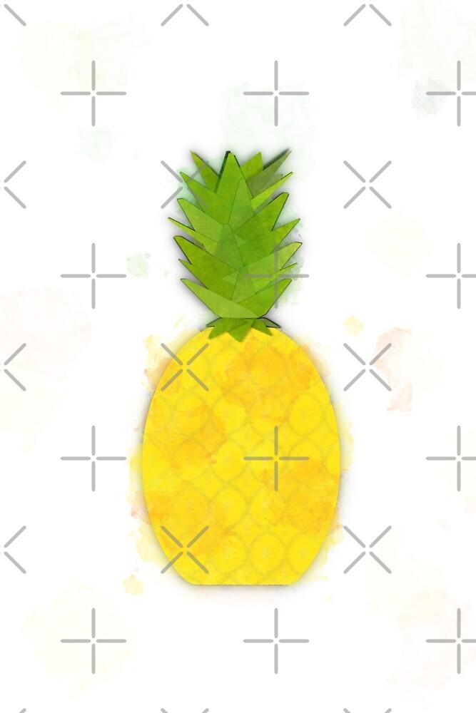 Tropical Pineapple Digital Watercolor by Colleen Cornelius