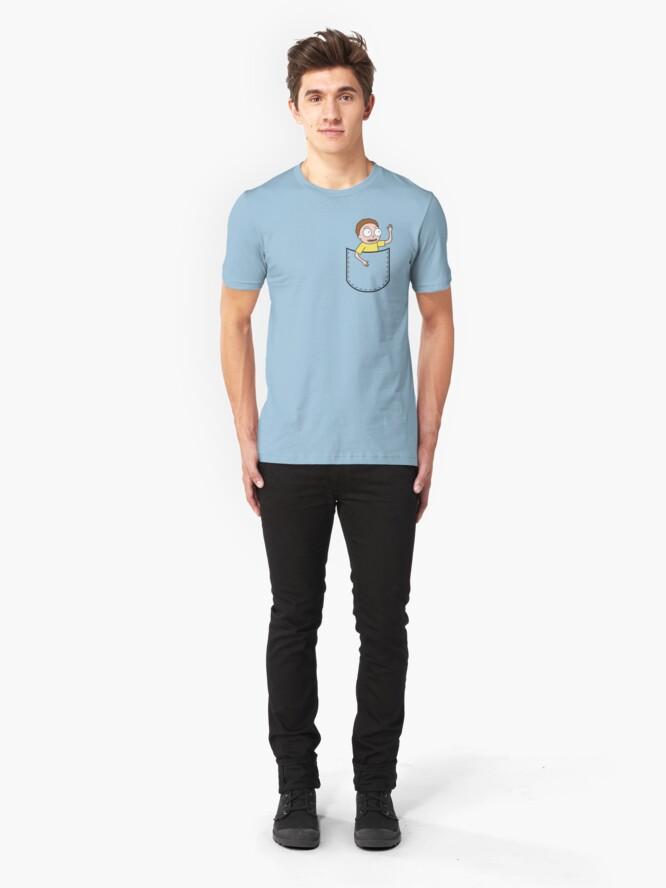 Alternate view of Rick & Morty Pocket Morty Slim Fit T-Shirt
