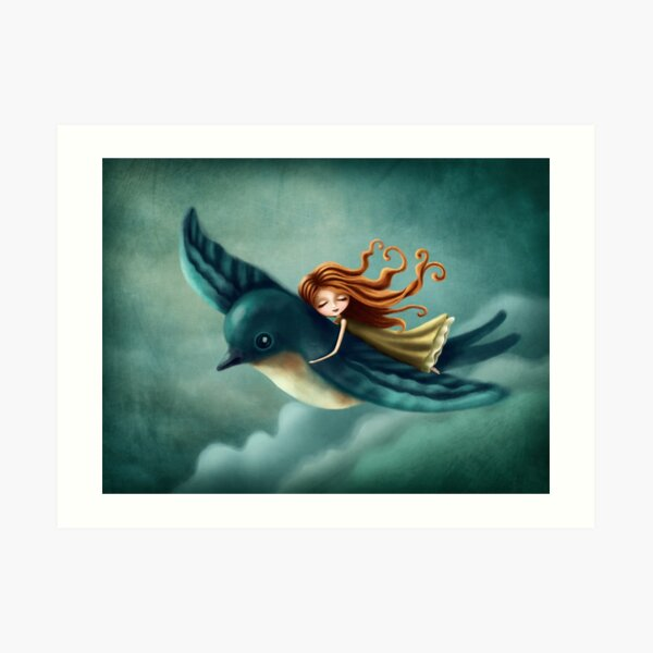 Thumbelina flying with a bird Kunstdruck