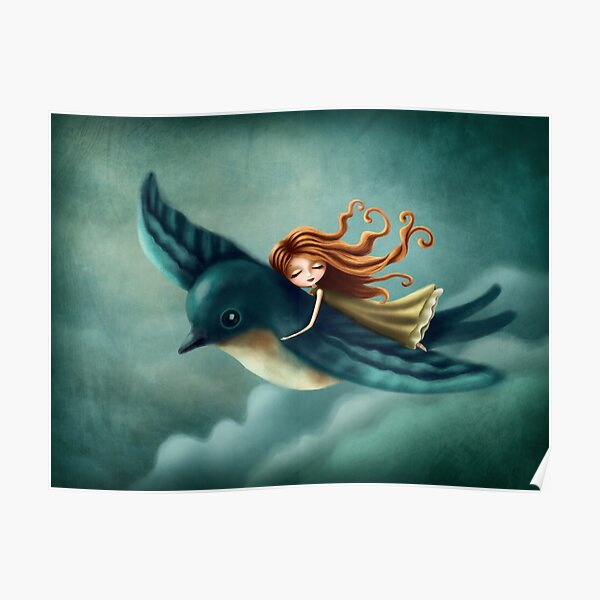 Thumbelina flying with a bird Poster