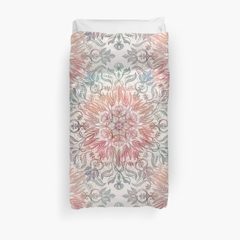 Autumn Spice Mandala in Coral, Cream and Rose Duvet Cover