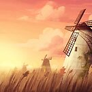 Windmills and cotton clouds by Lizziefij