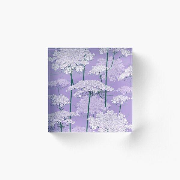 Romantic Queen Annes Lace Pattern | Violet Acrylic Block