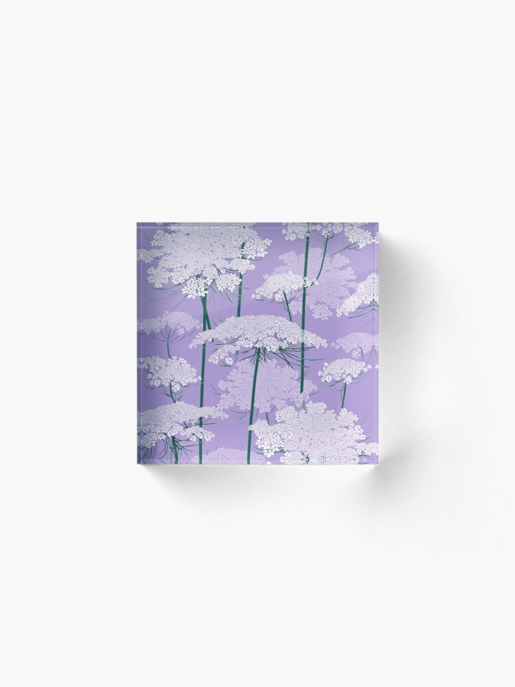 Alternate view of Romantic Queen Annes Lace Pattern | Violet Acrylic Block