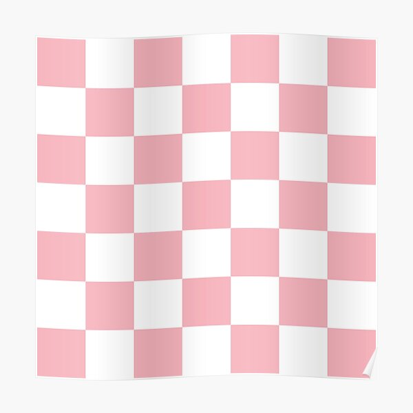 Large Coral Checkerboard Pattern Poster