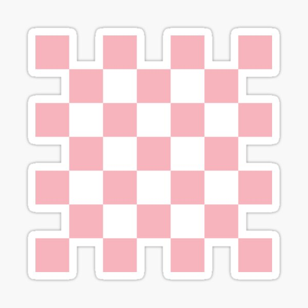 Large Coral Checkerboard Pattern Sticker