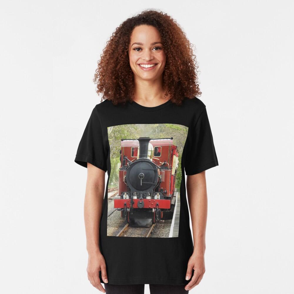 Isle of Man Steam Engine Ballasalla Station Slim Fit T-Shirt