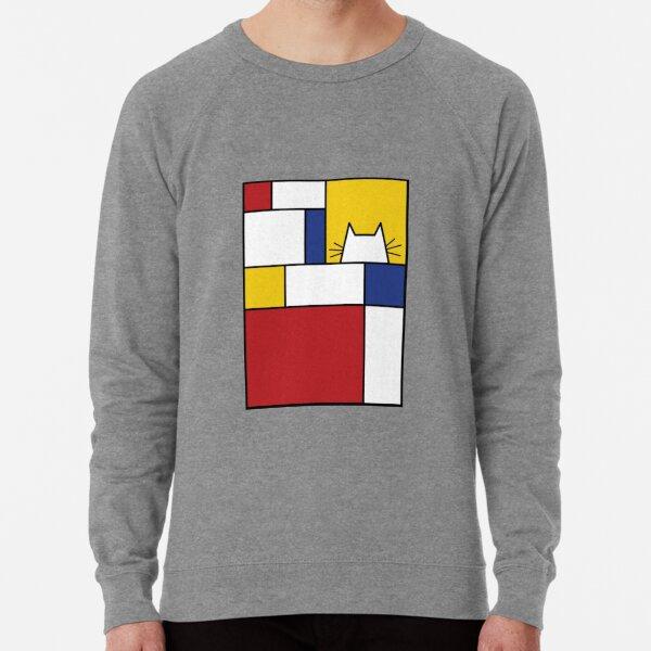 Piet Mondrian Art Cat Geometric Simple Polychromatic Design Lightweight Sweatshirt