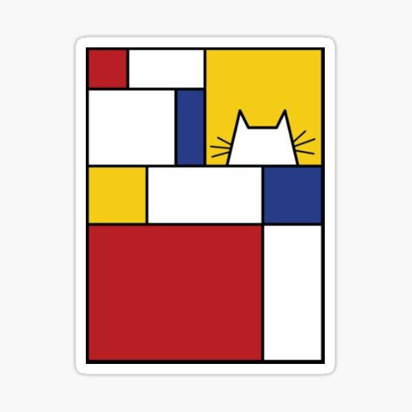 Piet Mondrian Art Cat Geometric Simple Polychromatic Design Sticker