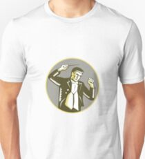 Conductor Waving Baton Circle Woodcut Unisex T-Shirt
