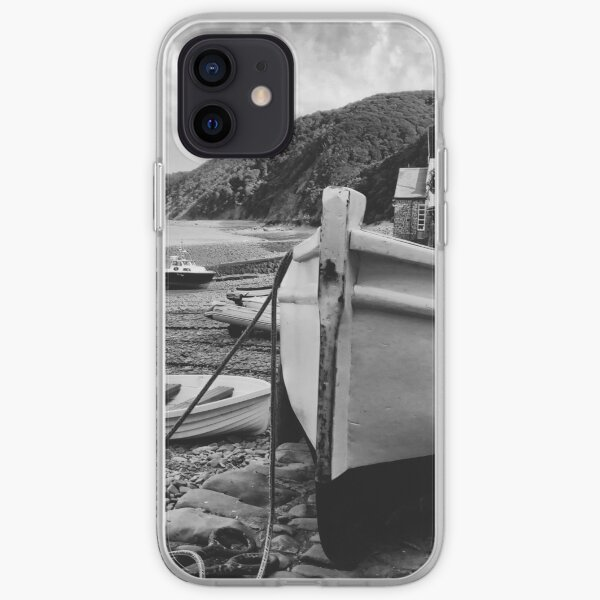 Boat at low tide - Clovelly, Devon - a black and white study iPhone Soft Case