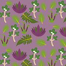 Purple and Green South Pacific Plants pattern by saralynncreativ